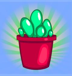 pop art houseplant cactus in a pot white vector image vector image