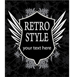 retro label with shield vector image vector image