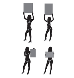Ring girls silhouette vector