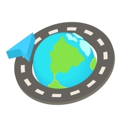 Round the world road trip icon cartoon style vector