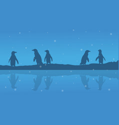 Silhouette of penguin on riverbank scenery vector
