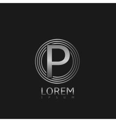 Silver p letter logo vector