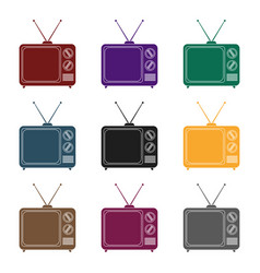 Television advertising icon in black style vector