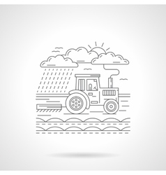 Tractor in a field flat line icon vector image