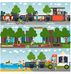 training outdoors concept flat poster set vector image vector image