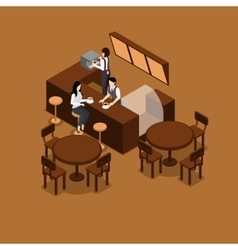Waitress isometric vector