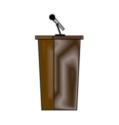 wooden podium tribune stand rostrum with vector image