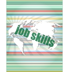 words job skills on digital screen business vector image vector image