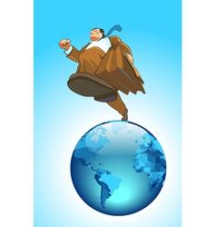 Globe runner concept vector image