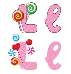 letter L lollipops vector image