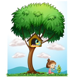 A girl with a magnifying lens under a big tree vector image
