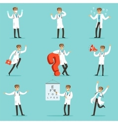 Doctor work process collection of hospital related vector