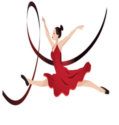 Young woman dancing vector