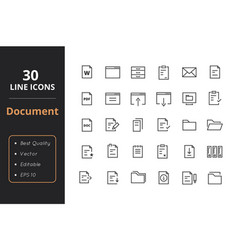 30 document line icon vector image vector image