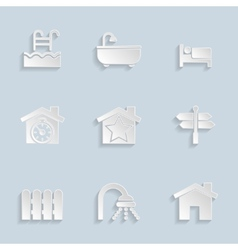 Paper Real Estate Icons vector image