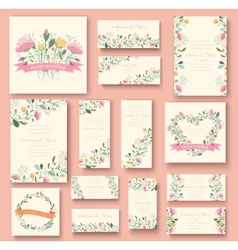 colorful greeting wedding invitation card set Flow vector image