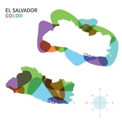 Abstract color map of el salvador vector