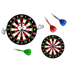 Cartoon dartboard target character with colorful vector