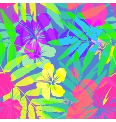 Vivid colors bright tropical flowers vector