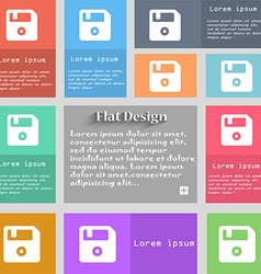 Floppy icon sign set of multicolored buttons metro vector