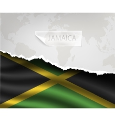 Paper with hole and shadows jamaica flag vector