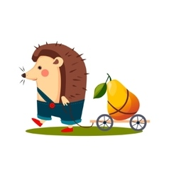 Hedgehog carrying a pear in barrow vector
