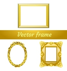 Set of three gold frame for your design needs vector