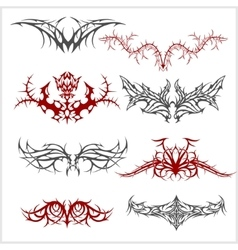 Tattoo set in tribal style on white background vector