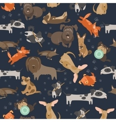 Cartoon dogs seamless pattern vector image