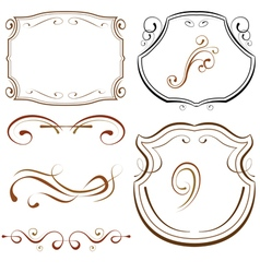 Set of elements for design decorative borders and vector