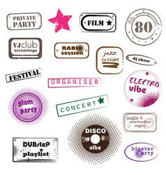 hipster party stamps vector image
