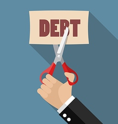 Hand cutting debt paper vector