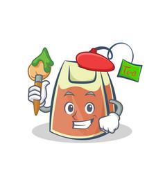 Artist tea bag character cartoon vector