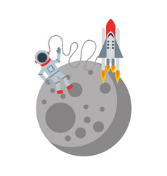 astronaut in the moon comic character icon vector image