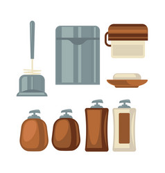 Bathroom things collection in brown and grey vector