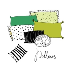 Beautiful pillows and cute cat on a white vector image vector image