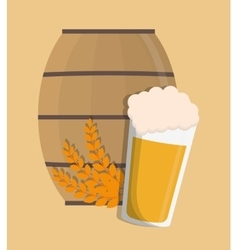 Beer glass and barrel design vector image vector image