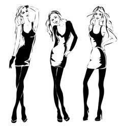 Black and white fashion woman models in sketch vector