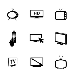 Black tv icons set vector