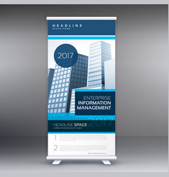 Blue roll up standee design with details for vector