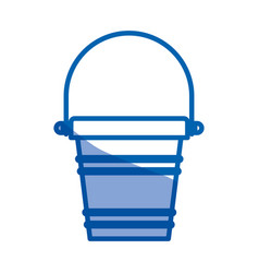 Blue shading silhouette of toy bucket beach kit vector