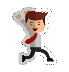 businessman running funny character icon vector image vector image