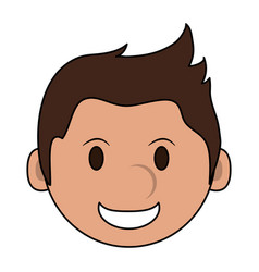 Color image cartoon face smiling man with vector