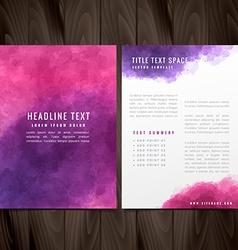 Creative watercolor brochure flyer design vector