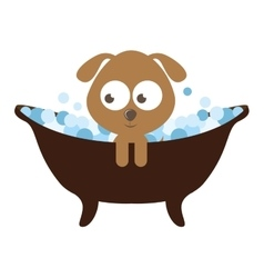 Cute dog character bathing isolated icon design vector