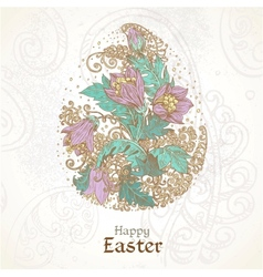 Easter background with delicate egg from flowers vector image vector image