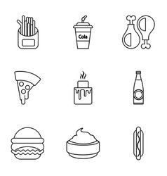 Food and drinks icons set outline style vector