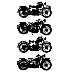 Four vintage motorcycles vector image