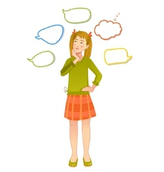Girl with speech bubbles around vector image
