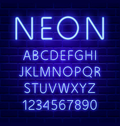 glowing blue neon character font vector image vector image